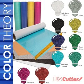 "Color Theory Glitter Heat Transfer Vinyl (HTV), 10-Color Starter BUNDLE of 12"" x 20"" Sheets"