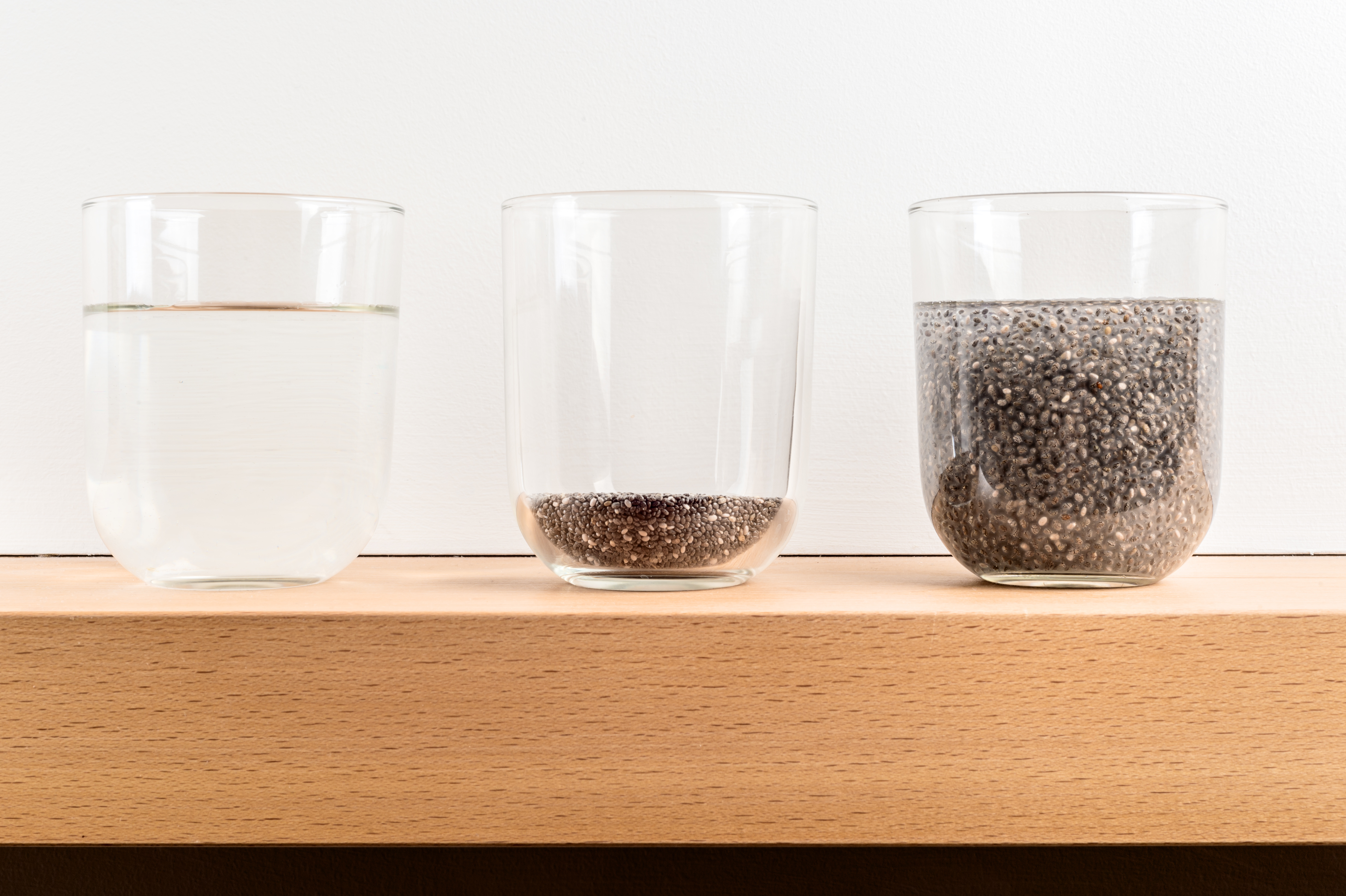 Showing example of hydrophilic with Chia seeds