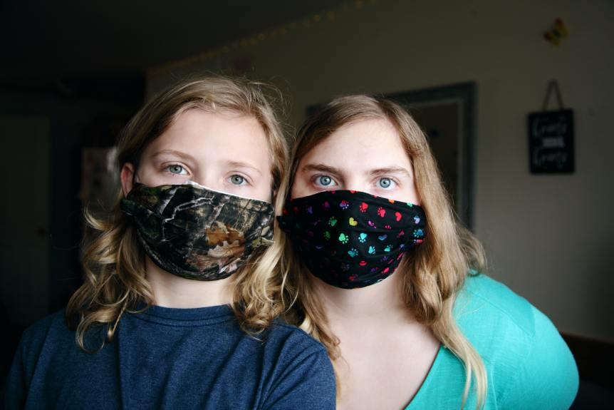 Two Girls in Masks