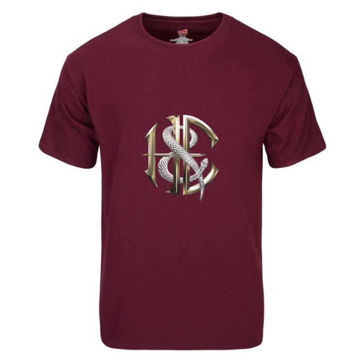 662e7775172a Men s Gold and Silver Logo Maroon Rock T-Shirt - Heaven   Earth