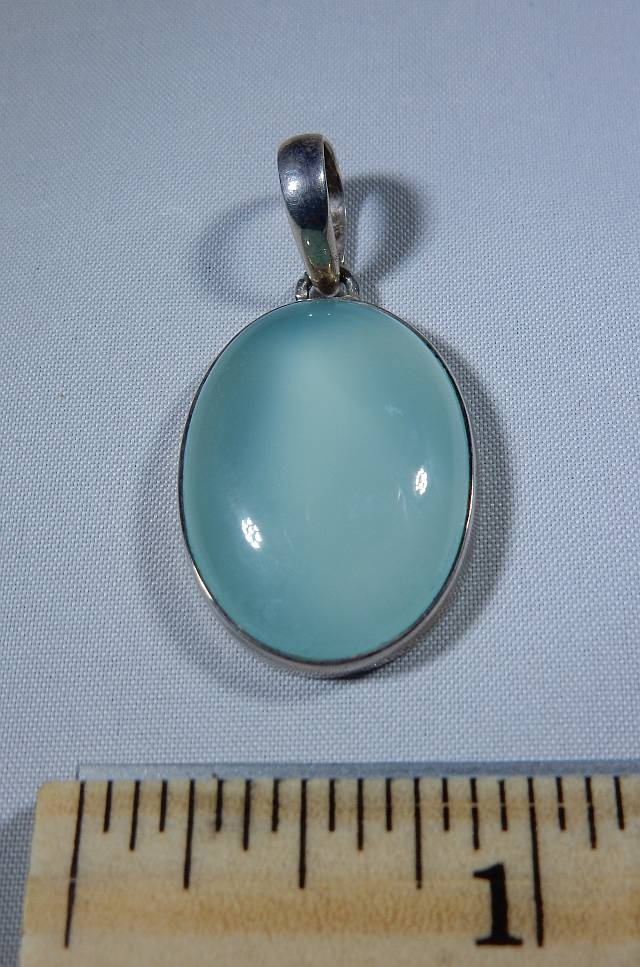 Chalcedony Aqua Oval Pendant In Sterling Silver Heaven