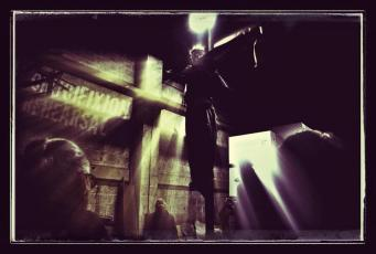 Rehearsing the Crucifixion in the timber yard
