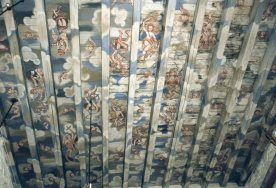 Painted ceiling in church at Voss