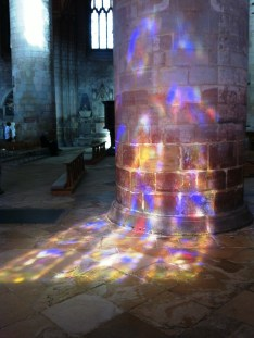 stained glass window reflected