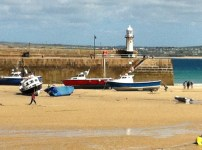St Ives Harbour when the tide is out