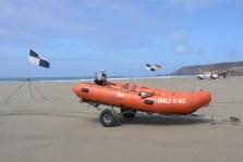 Orange Lifeboat on Porthtowan Beach