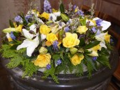 Flowers in Font at the Guild Chapel where Shakespeare's Father spent a great deal of his time