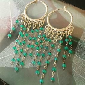 Gemstone and gold plated hoop earrings