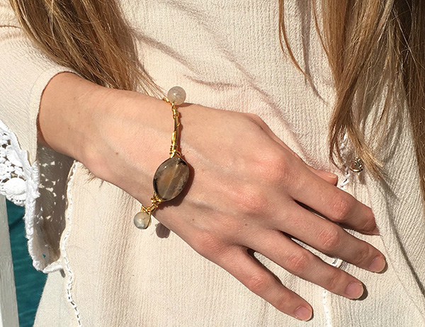 Wire and gemstone wrapped bracelet