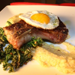 Pork Chops With Kale & Grits