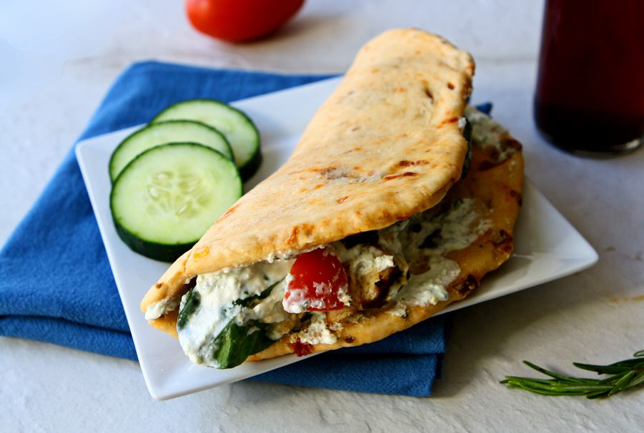 Grilled chicken gyro recipe with sun-dried tomato pita bread. Easy, healthy and delicious with homemade pita bread and a tangy light whipped feta spread | www.heavenlyhomecooking.com