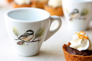 Espresso Cups Chickadee | Made of durable porcelain, you will love this set of adorable chickadee espresso cups for years to come! | heavenlyhomecooking.com