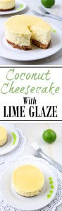 Coconut Cheesecake with Lime Glaze | Smooth coconut cheesecake covered with a refreshing lime glaze over a graham cracker crust. Tropical bliss! | heavenlyhomecooking.com