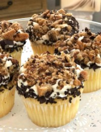 Chocolate Chip Cookie Crumble; Butter Golden Cake with white icing, smashed in Tanya's from-scratch chocolate chip cookies