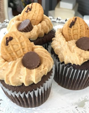 Nutter Butter; Chocolate Cake with Peanut Butter Icing Topped with a Cookie and Peanut Butter Cup