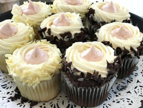 Raspberry Cloud & Chocolate Royale; White or Chocolate Cake with White Icing and a kiss of raspberry buttercream