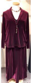 BNWT Joanna Hope Size 18 Burgundy Velvet Skirt suit necklace - Women s Suits - Red