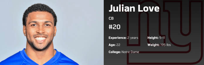Julian Love listed at CB on Giants official roster