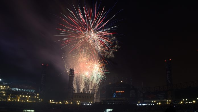 Fireworks to celebrate the fourth of July explode after the game between the Chicago White Sox and the Baltimore Orioles on July 3, 2015 at U. S. Cellular Field in Chicago, Illinois.