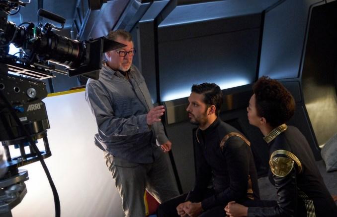 Director, Jonathan Frakes; Shazad Latif as Lieutenant Ash Tyler; Sonequa Martin-Green as First Officer Michael Burnham of the CBS All Access series STAR TREK: DISCOVERY