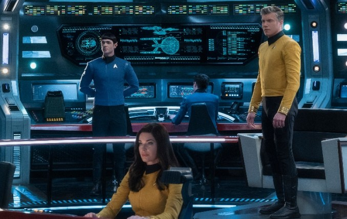 Ethan Peck as Spock; Rebecca Romijn as Number One; Anson Mount as Captain Pike of the the CBS All Access series STAR TREK: SHORT TREK