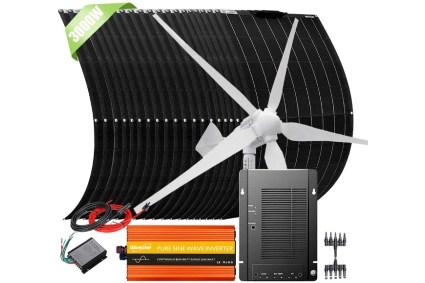 Giosolar 3000W 48V Hybrid Solar Wind Backup Power Kit