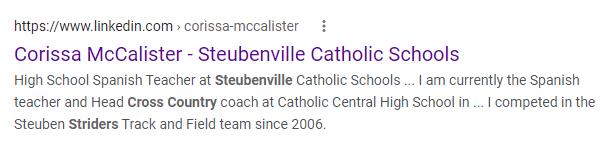 corissa mccalister coach and teacher