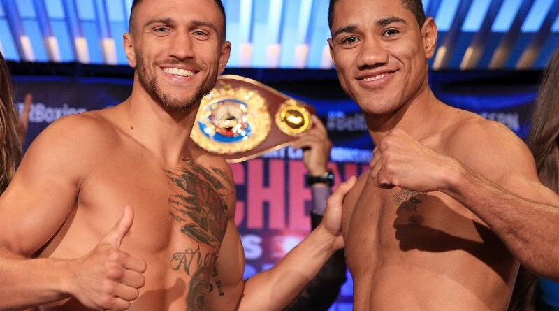 Vasyl Lomachenko vs. Miguel Marriaga weights from Los Angeles
