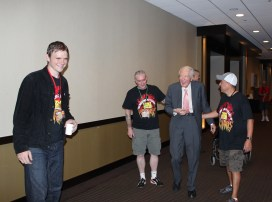 Angus Scrimm returning from his nap to continue meeting his adoring phans.