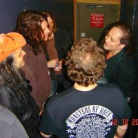 Eddie Trunk talking with former Ozzy guitarists Jake E Lee of Red Dragon Cartel and Joe Holmes of Farmikos at The Whisky 12/12/2013