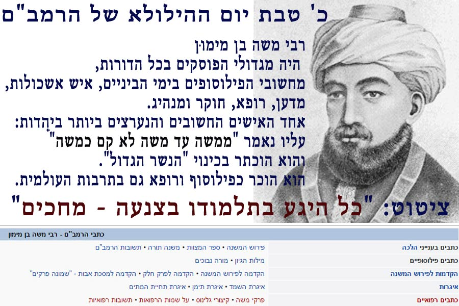 """הרמב""""ם רבינו משה בן מימון"""
