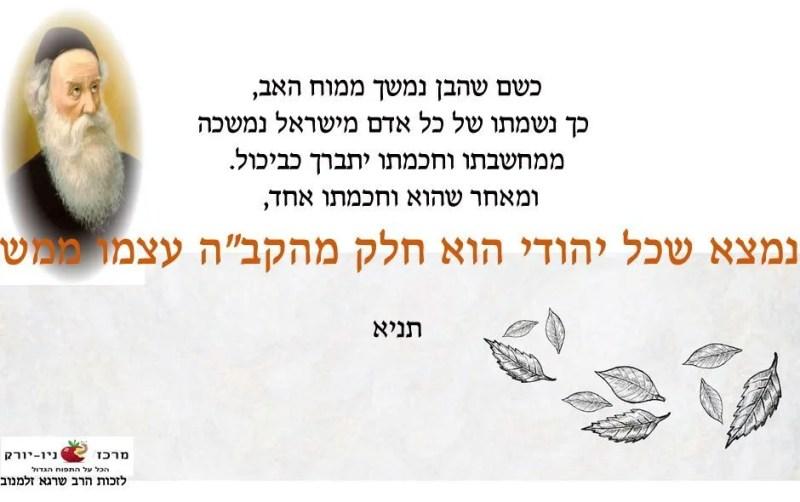"""כל יהודי הוא חלק מהקב""""ה עצמו ממש"""
