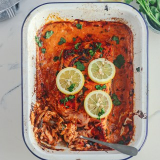CREAMY ROASTED RED PEPPER BAKED SALMON