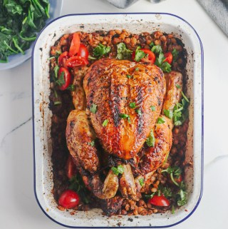 Sun-dried tomato and pepper lentil roast chicken