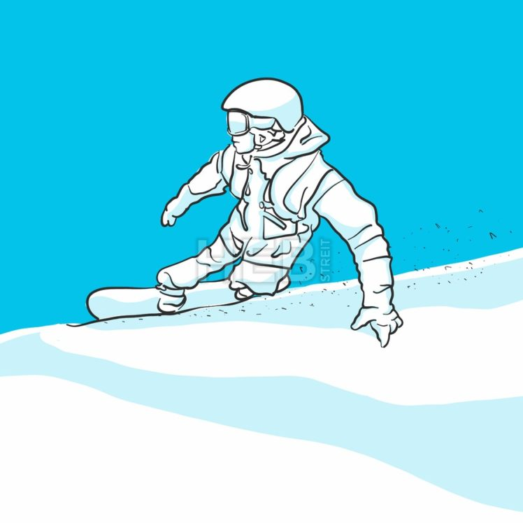 Snowboarder takes curve, blue series, two tones