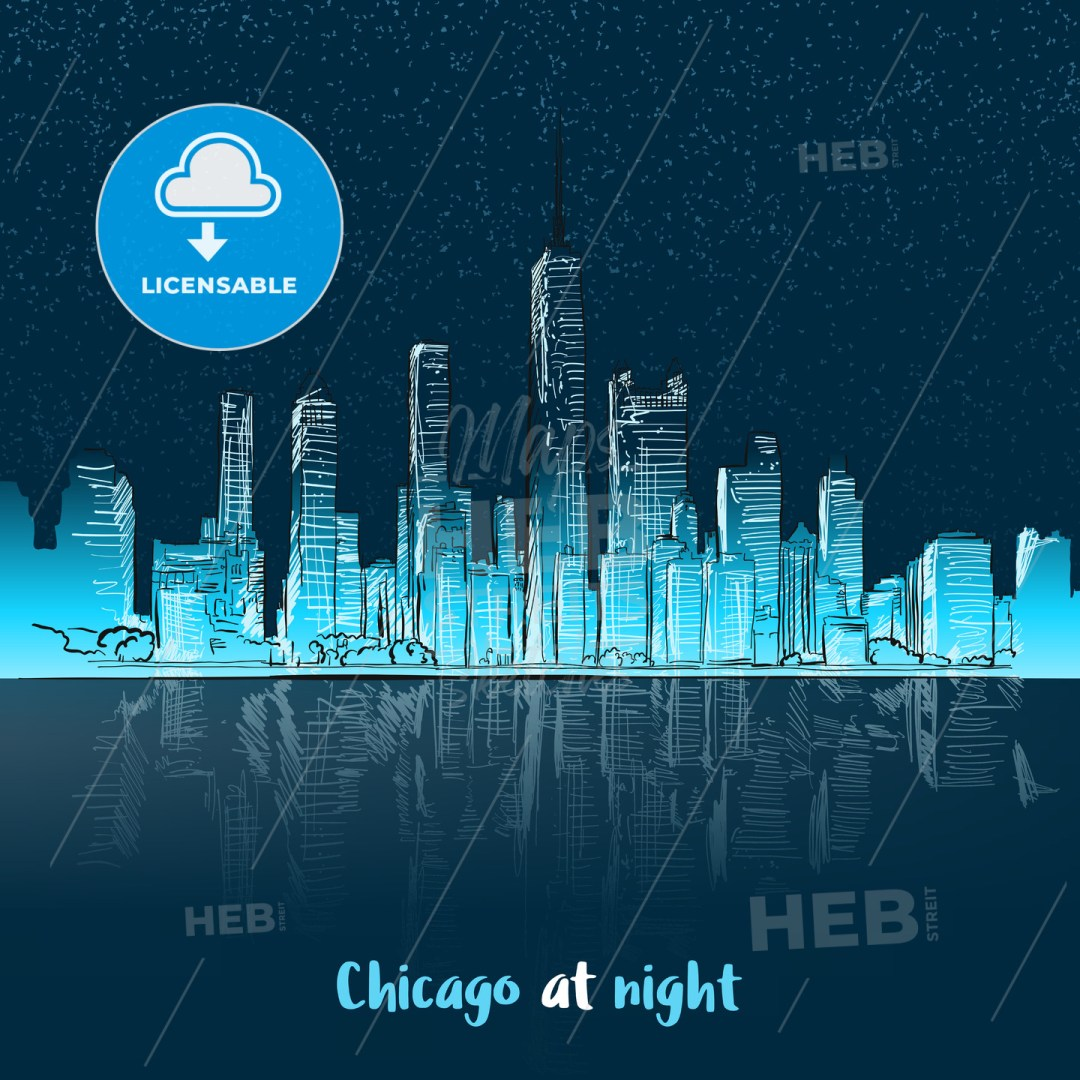 Chicago at night seen from lake