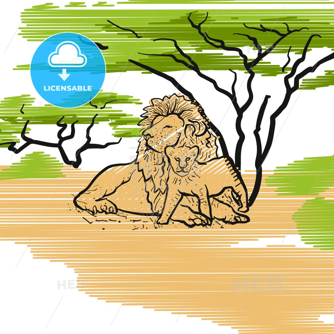Lion Family Icon Illustration