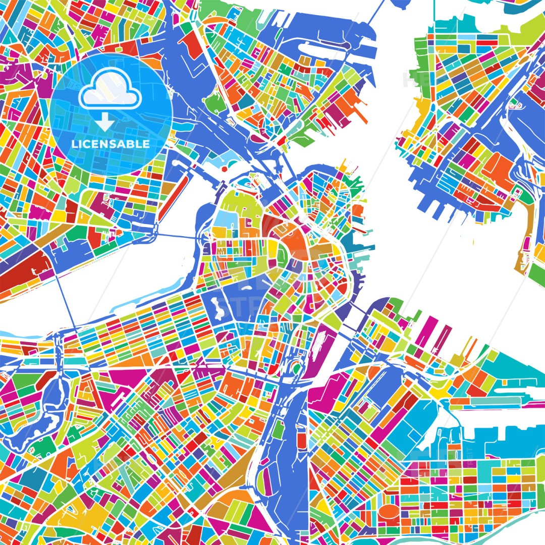 Boston Colorful Vector Map