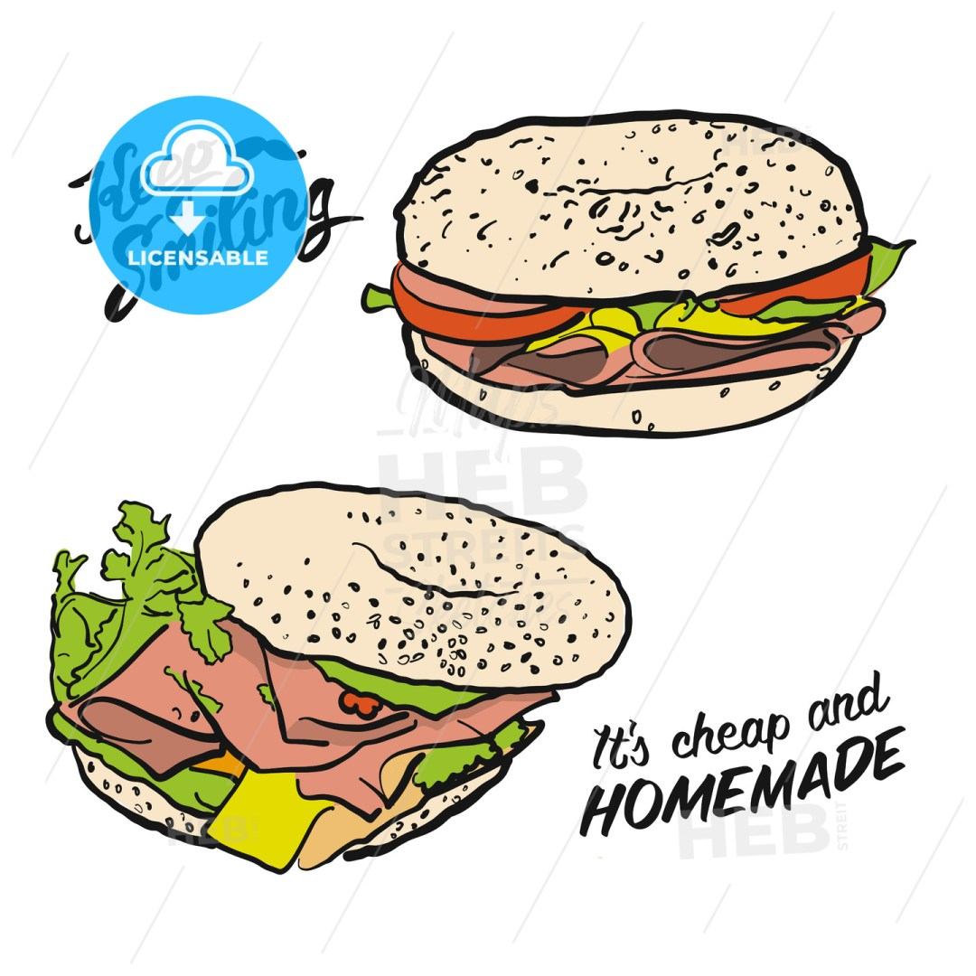 Colored Bagel Sandwich with handdrawn Type