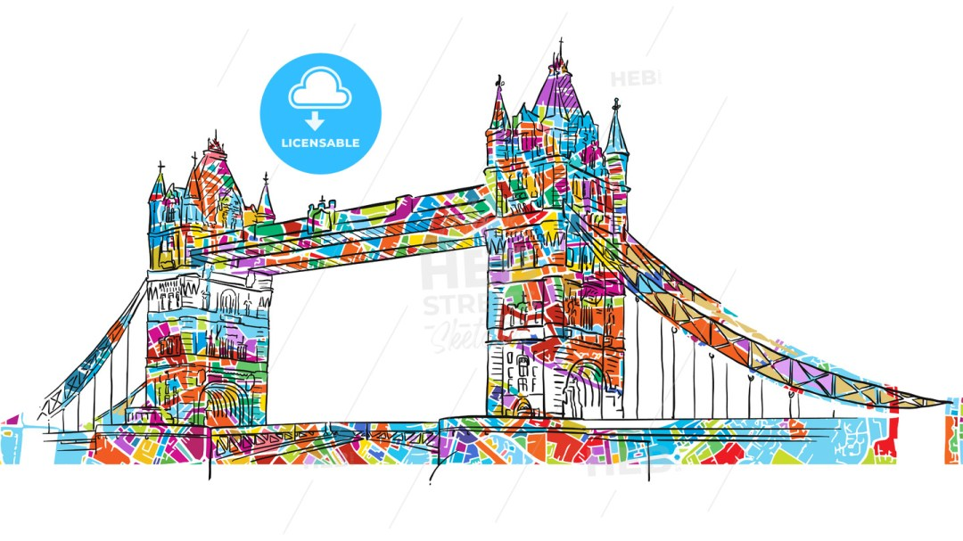 Colored London Tower Bridge Symbol