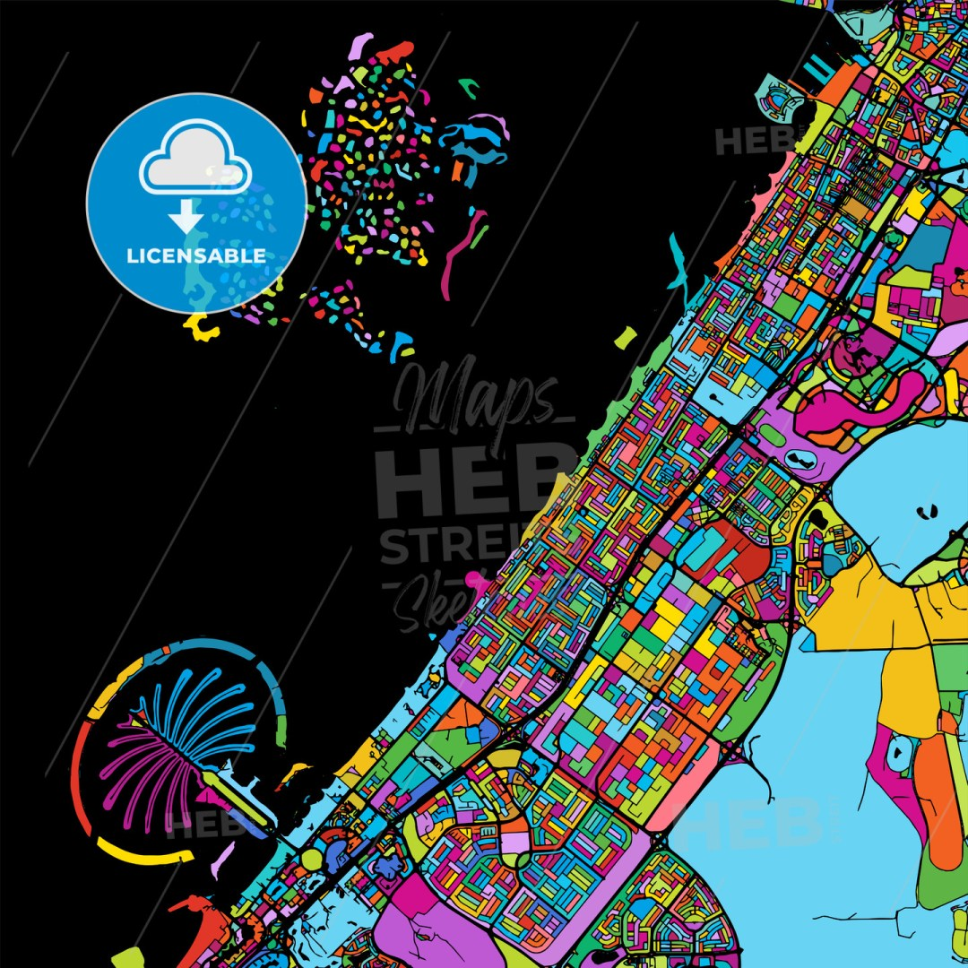 Dubai Colorful Vector Map on Black