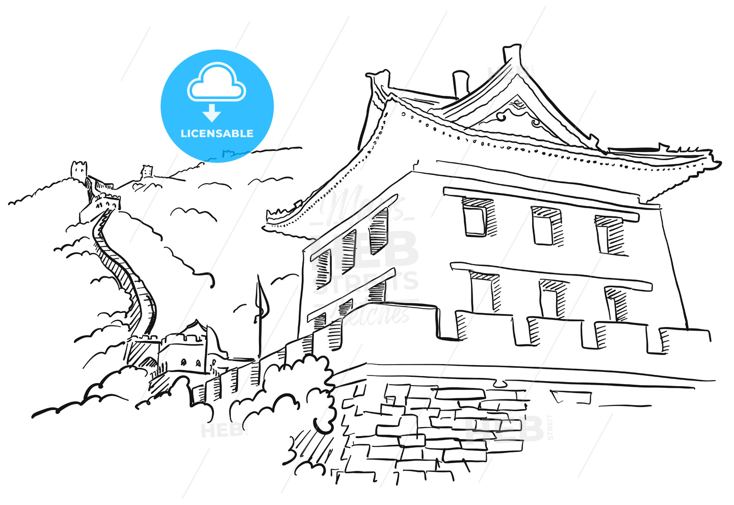 Great Wall With Tower Sketch
