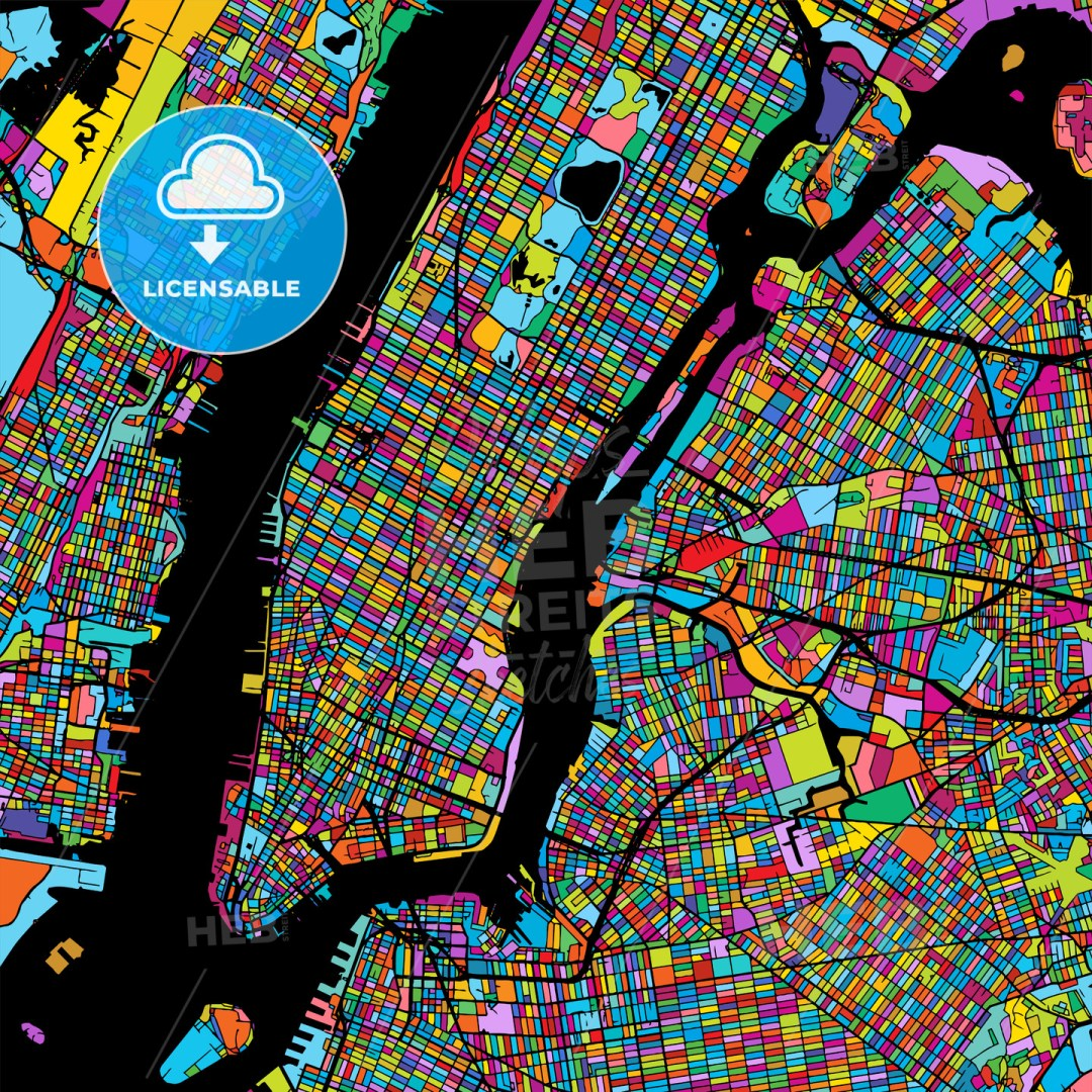 New York City Manhattan Colorful Map on Black
