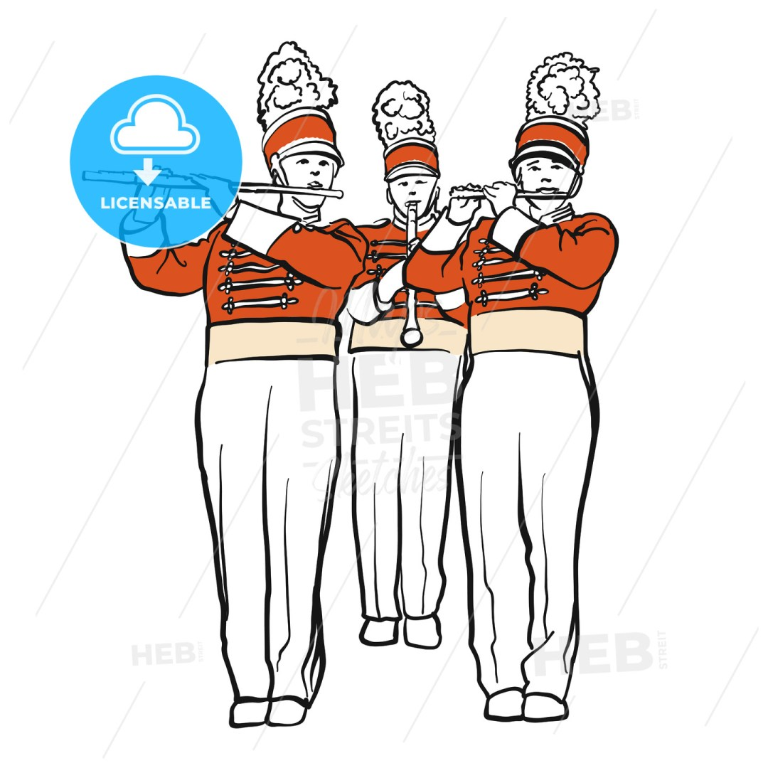 Red Colored Military Band Illustration