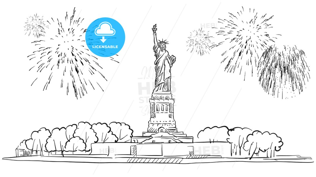 Statue of Liberty with Firework Illustration