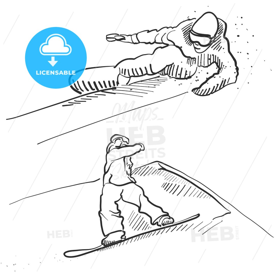 Two Snowboarder Jumping Situation Sketches