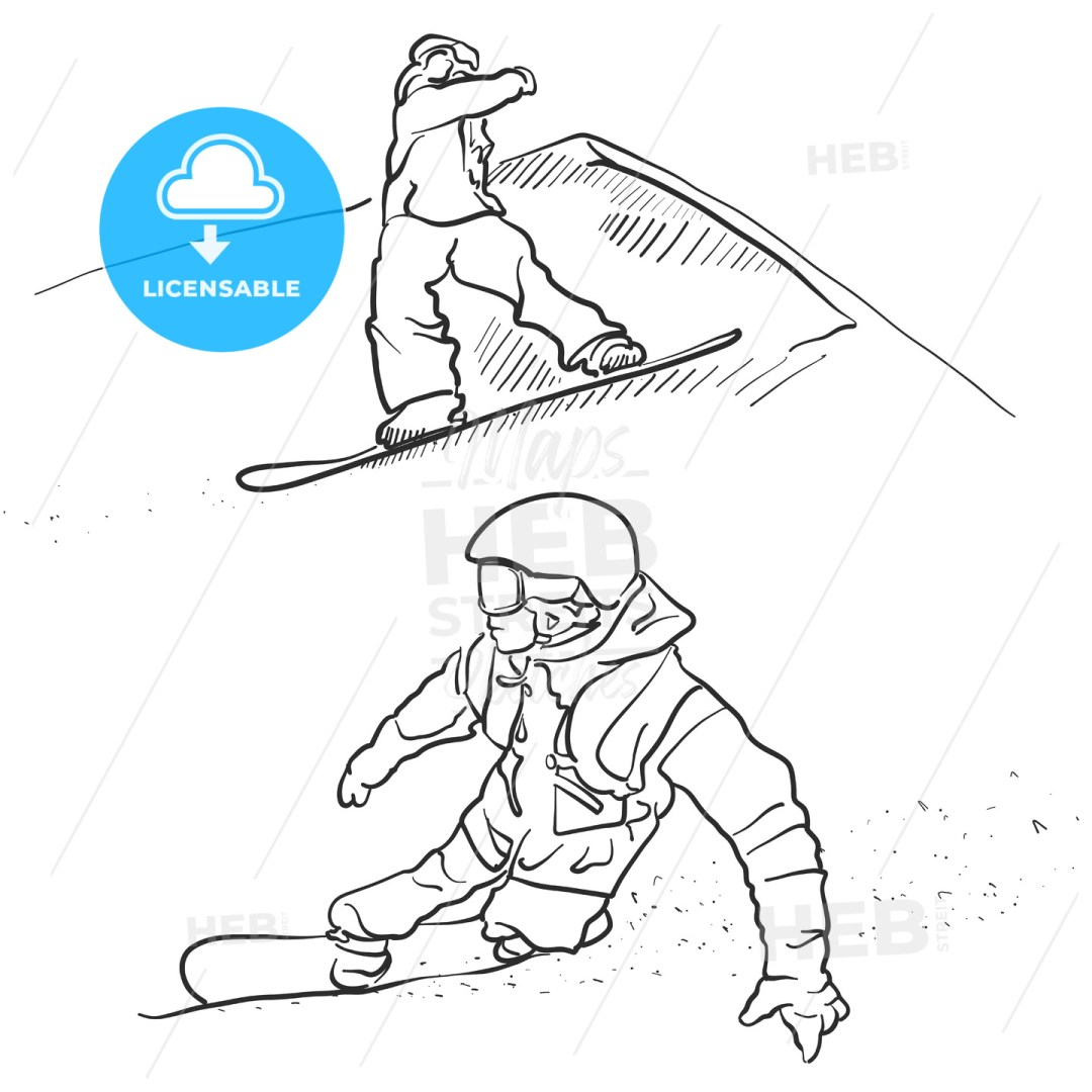 Two Snowboarder lifestyle Scribble Sketches