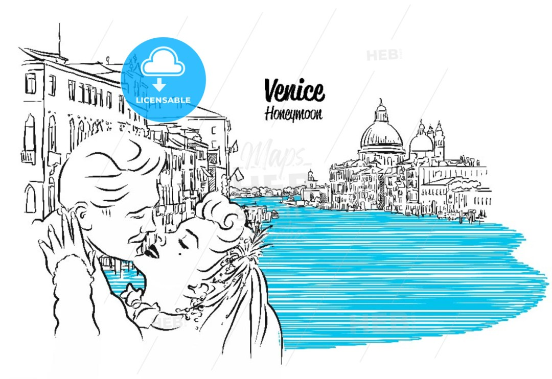 Venice Skyline with kissing Vintage Couple Sketch