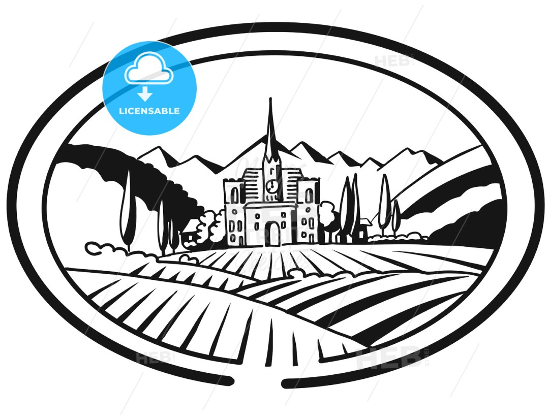 Vineyard Farm Cover Design for Bottle Labeling, Sketched