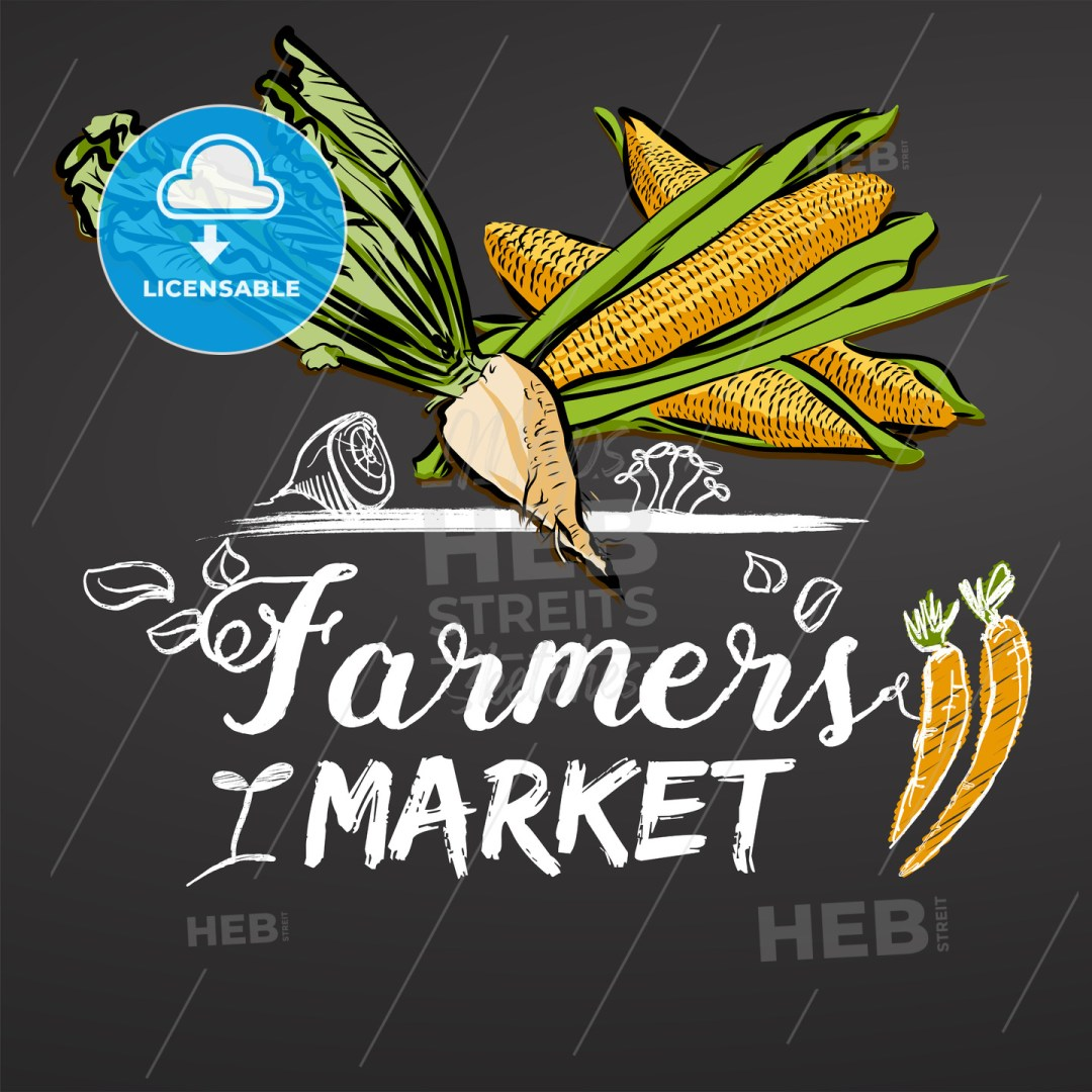 Farmers Market Sketched Banner on Chalkboard
